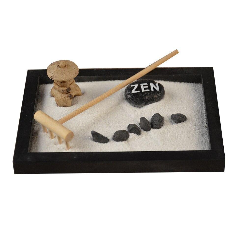 Elaboradamente Estátua de Buda Jardim Zen Areia Meditação Pacífica Relaxe Decoração Set Kit Jardim Zen Espiritual Decoração Set