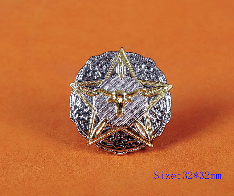 """Antique Silver Sq  With Gold Longhorn 1 1//4/"""" Concho"""
