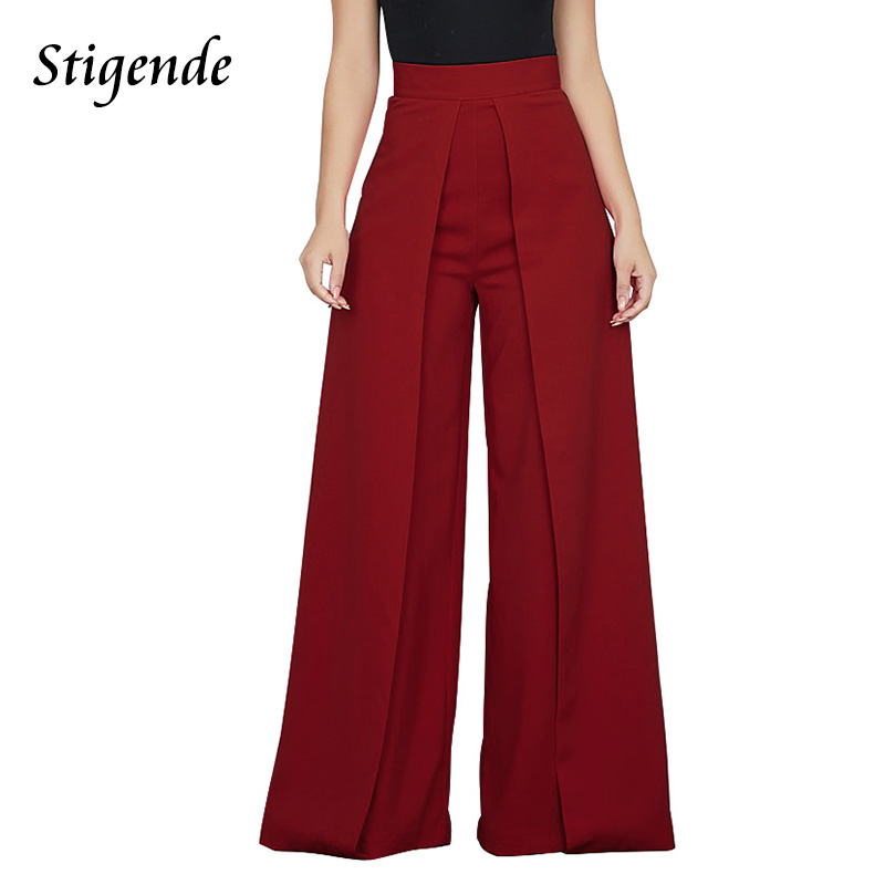 Stigende Casual High Waist Loose   Wide     Leg     Pants   Women Solid Patchwork   Pants   Trousers Female Elegant Back Zipper Palazzo   Pants