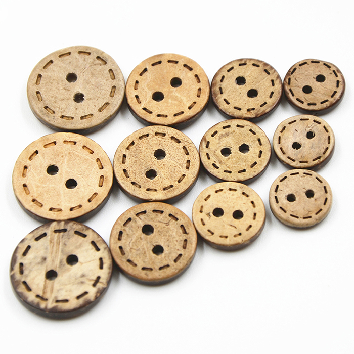 11mm/13mm coconut shell wood button laser dotted line double-sided coconut button's Kids Clothes buttons manual button cardigan
