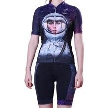 Женские наборы для велоспорта с рисунком космонавта для женщин Быстросохнущий костюм-Джерси с короткими рукавами MTB велосипед/велосипедная одежда Ropa Ciclismo