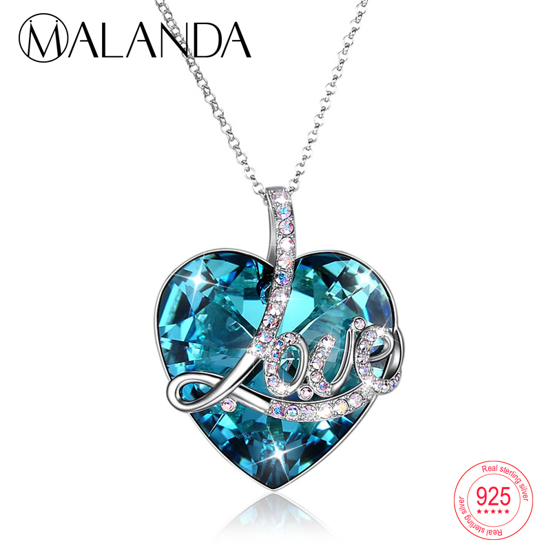 MALANDA LOVE Heart shaped Crystal Pendant Sweater Chain Necklaces For Women Crystal From Swarovski Sterling Silver Long Necklace love heart opening wings shape sweater chain