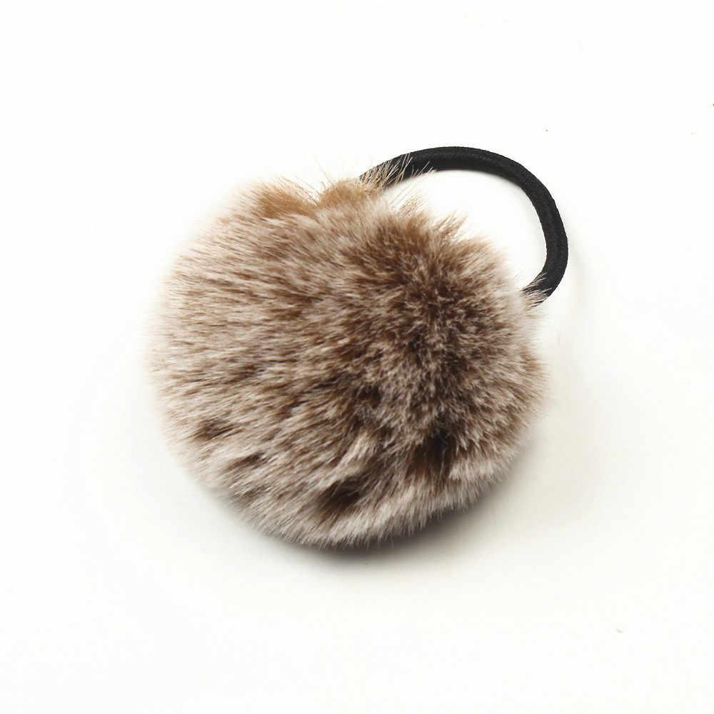 1PX Rabbit Fur Hair Band Elastic Hair Bobble Pony Tail Holder  F811