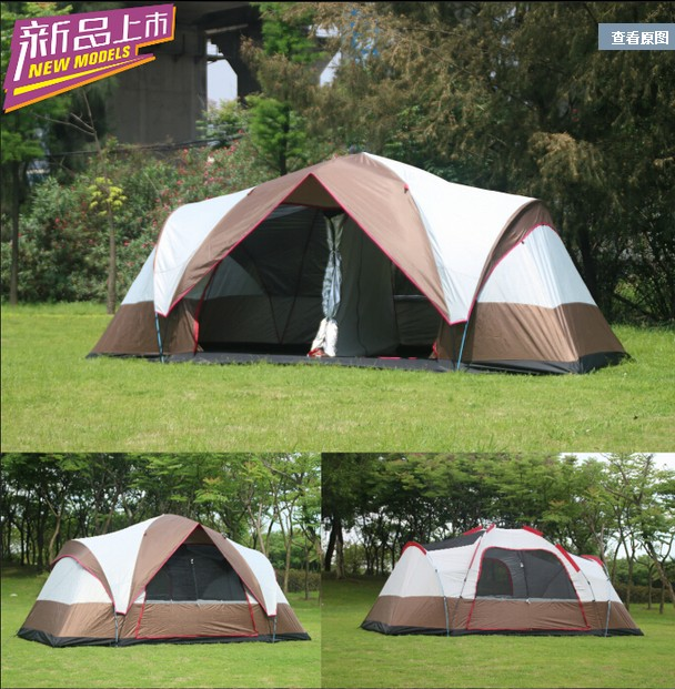 New arrival Fully automatic two hall 6-8 person double layer camping tent/against big rain large family outdoor tent 190cm high hewolf 2persons 4seasons double layer anti big rain wind outdoor mountains camping tent couple hiking tent in good quality