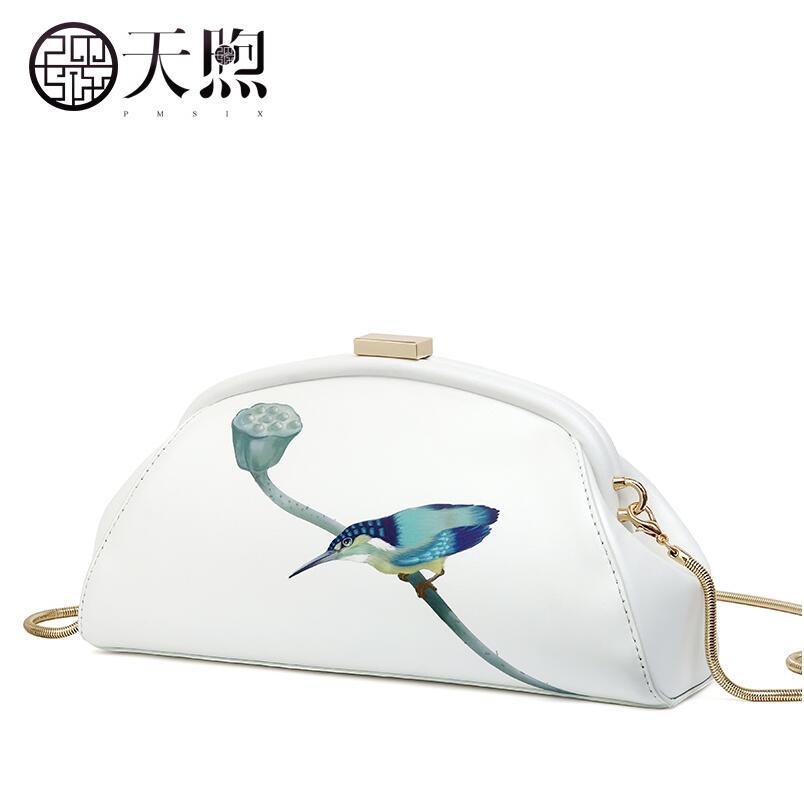 Genuine Leather women bag   Chinese wind printed shoulder bag Fashion handbag Messenger bagGenuine Leather women bag   Chinese wind printed shoulder bag Fashion handbag Messenger bag