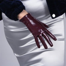 New 2019 Patent Leather Gloves Short Style Female Faux Genuine 21cm Long PU Womans P64