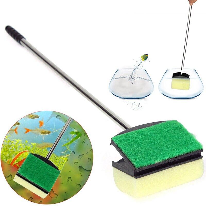 1pc Glass Brush Cleaning Sponge Steel Handle Algae Scraper Brushes 47cm Length For Fish Tank Aquarium