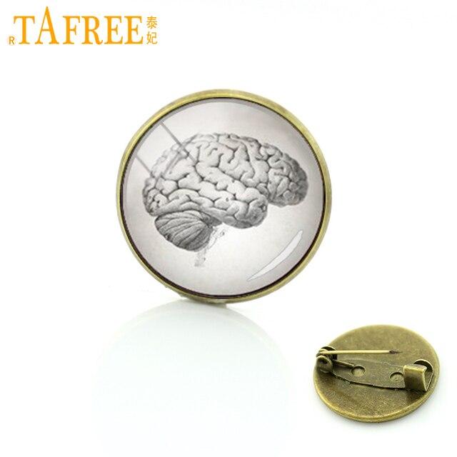 TAFREE Anatomy Art picture human brain heart body anatomy pin Anatomical Brain brooch Accessories Vintage men women jewelry T236