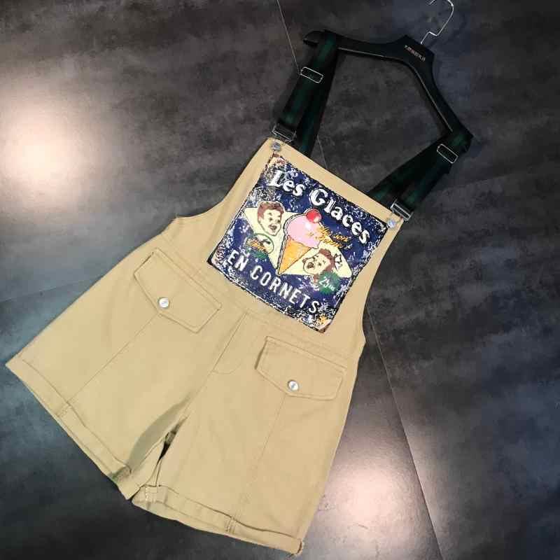2019 Verão Novo Vento Pintura A Óleo Curto Macacão Offset do Personagem Dos Desenhos Animados Avental de Cinco Pontos calças Jeans Jardineiras Maré
