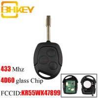 BHKEY 3 botones de repuesto de llave de coche remoto Fob transpondedor Chip 4D60 433Mhz para Ford Mondeo Focus tránsito llave completa