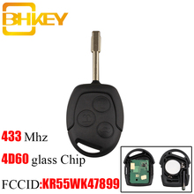 BHKEY 3Buttons Replacement Remote Car Key Fob Transponder Chip 4D60 433Mhz For Ford Mondeo Focus Transit Full Complete Key