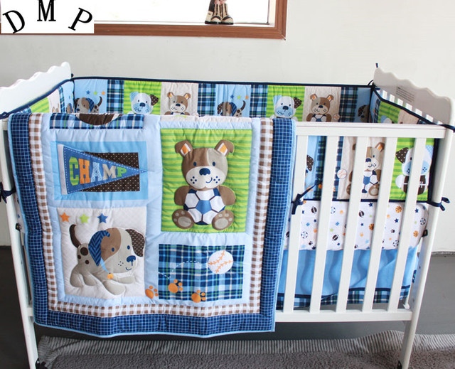 7pcs Embroidery Baby Boy Bedding Set Baby Bed Kit Boy Crib Set ,include  (bumpers+duvet+bed Cover+bed Skirt)