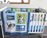 Promotion! 7pcs Embroidery Baby Boy Bedding Set Baby Bed Kit Boy Crib Set ,include (bumpers+duvet+bed cover+bed skirt)