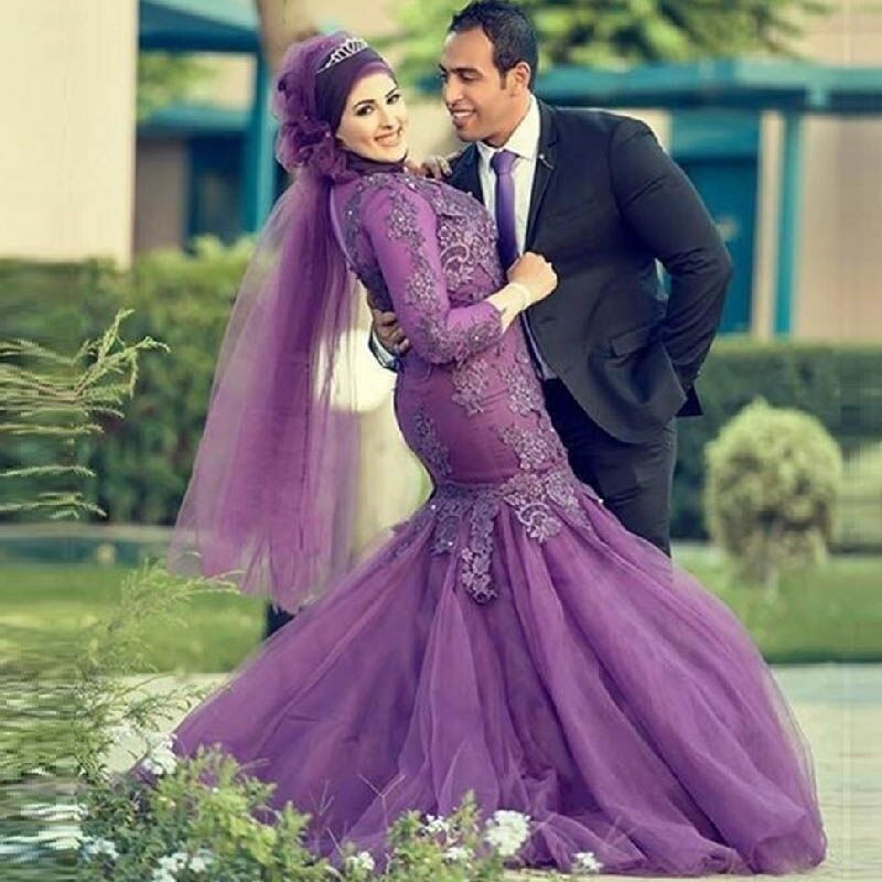 Turkish Islamic Muslim Evening Dress with font b Hijab b font Long Sleeve Purple Lace Plus