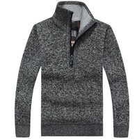 Mens Sweaters Wool Pullover Half Zipper Knitted Men Autumn Sweaters 353#
