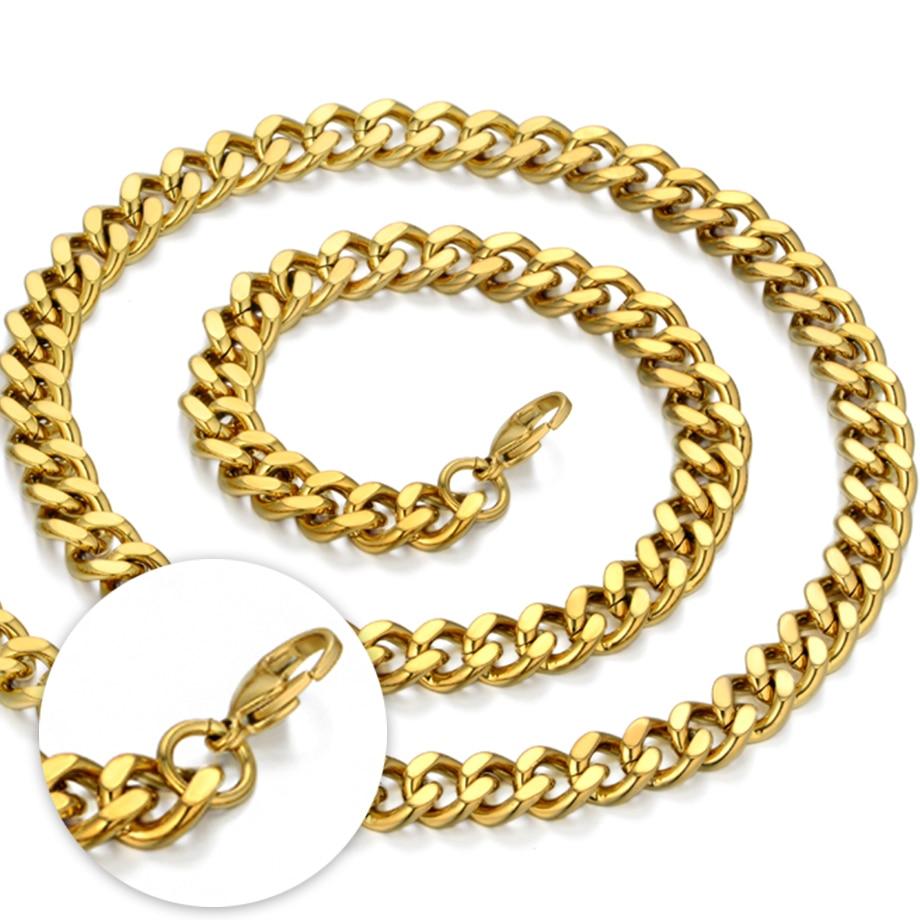 Vrat Heavy Gold lanac za muškarce Veliki dugi ogrlice Muška zlatna - Modni nakit - Foto 6