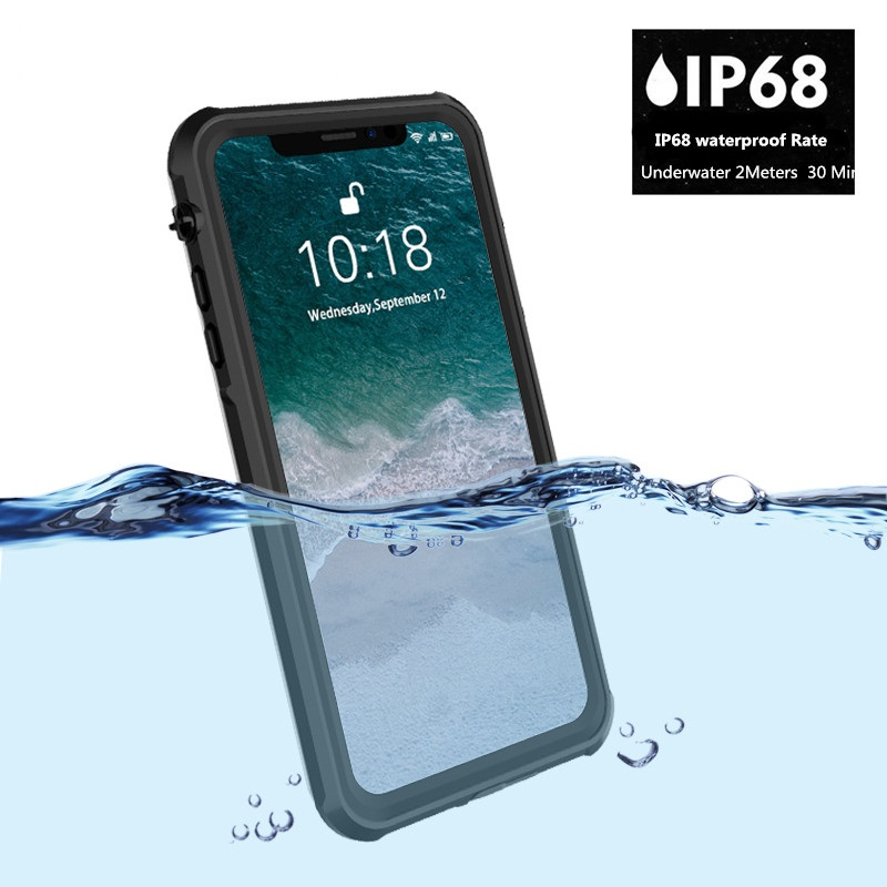 Phone case waterproof for iPhone Xs Max Transparent Shockproof Snowproof Case for iPhone 6 5 inch IP68 Waterproof case in Fitted Cases from Cellphones Telecommunications
