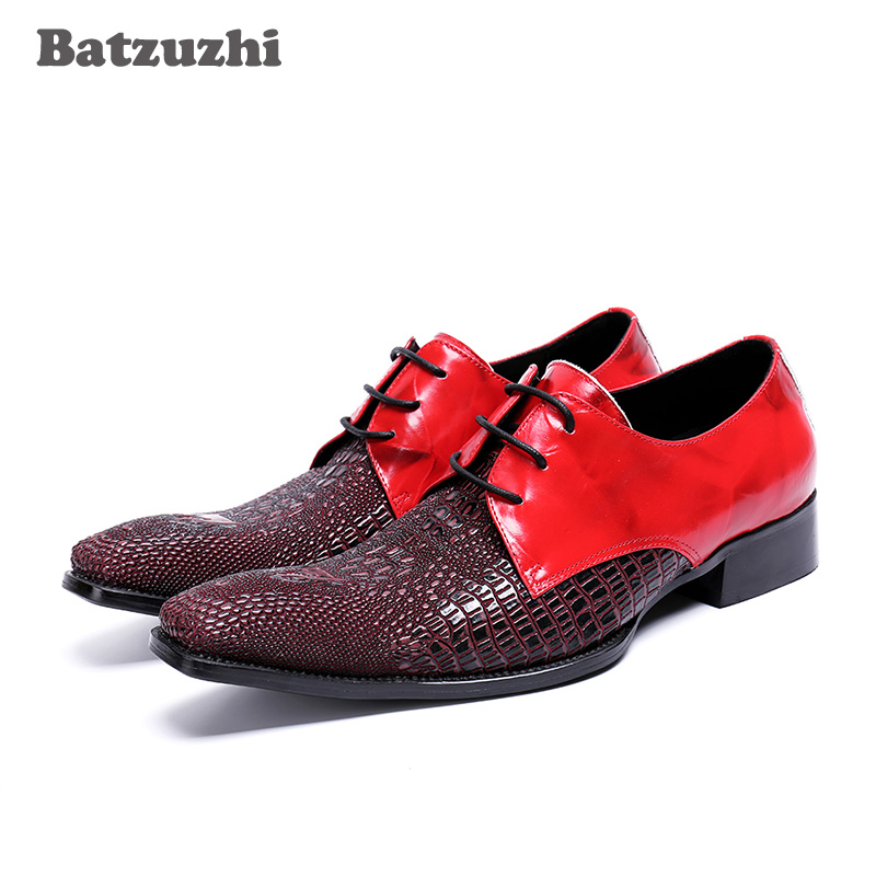 Luxury Italian Style Men Shoes Men Dress Shoes Lace-up Genuine Leather Shoes Male Red Wedding Shoes Oxfords, Big Size EU46 2017 autumn winter men shoes genuine leather casual lace up men s flats style comfortable dress work shoes big size 37 47
