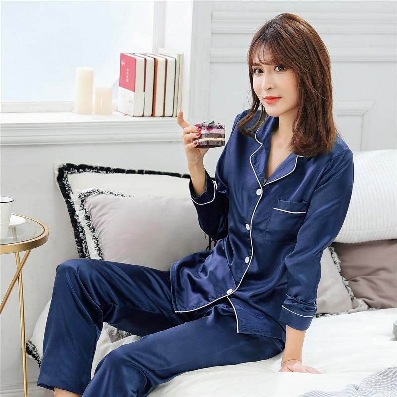 New Silk Satin Pajamas Pyjamas Set Long Sleeve Sleepwear Pijama Pajamas Suit Female Sleep Two Piece Set Loungewear Plus Size in Pajama Sets from Underwear Sleepwears