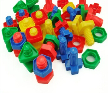 Screw building blocks plastic insert blocks nut shape toys for children Educational Toys montessori scale models(China)