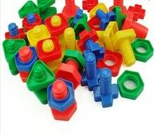 Śruby klocki plastikowa wkładka bloki nakrętka kształt zabawki dla dzieci zabawki edukacyjne modele w skali montessori