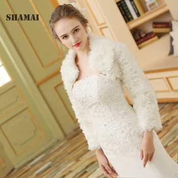 SHAMAI 2018 Faux Fur Shawl Wedding Wrap White Long Sleeve Wedding Jacket Cheongsam Winter Elegant Wedding Jacket Wraps