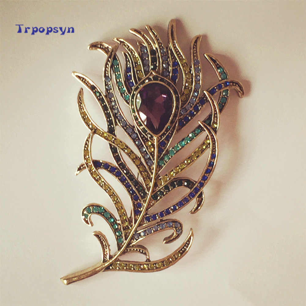 Hot 2017 New Arrival Large Women Vintage Feather Bronze Brooch Pin Antique Gold Crystal Rhinestone Metal