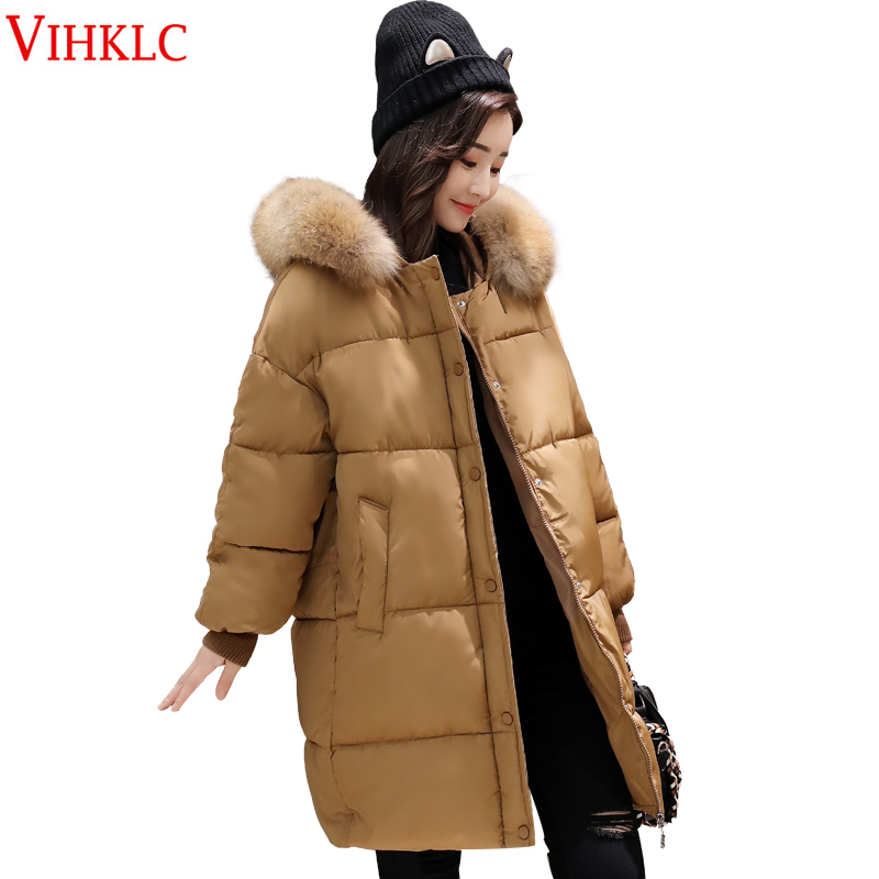 2017 New Women Long Sleeve Ladies Basic Coat Arrival Casual Warm Big fur Collar women parkas cotton  Winter Jacket FC275