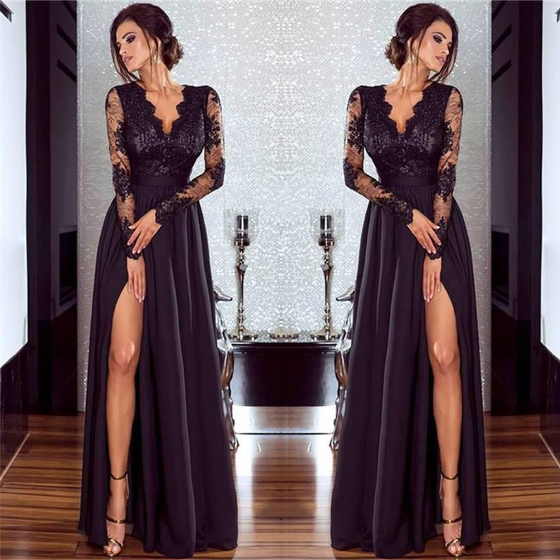Sexy Long Sleeve   Prom     Dresses   2018 New Arrival Black V-neck Lace A-line Leg Slit Chiffon Winter Autumn   Prom   Long Elegant   Dresses