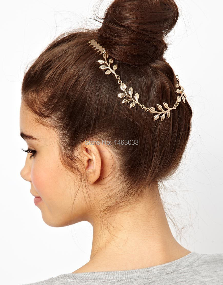 Gold Leaf Grecian Hair Comb Boho Head Pin Bohemian Accessories Women S Trendy Fashion Wedding Jewelry H0016 In From