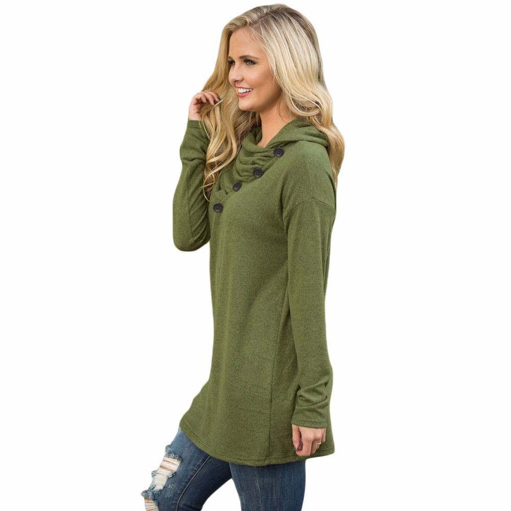 Army-Green-Buttoned-Cowl-Neck-Long-Top-LC25977-9-2