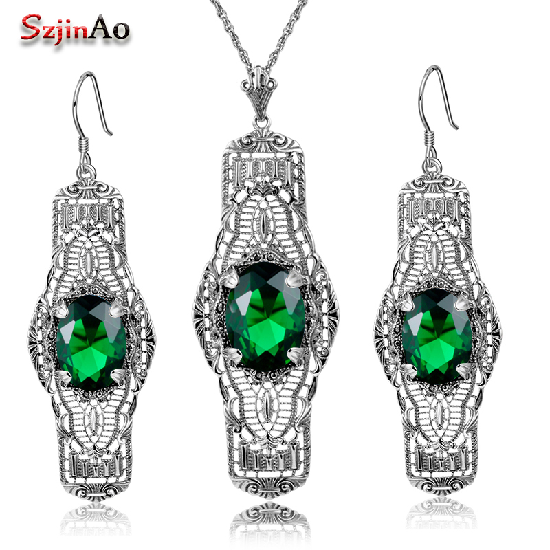Szjinao Brand Vintage Jewelry Sets Pattern Oval Design Emerald Long Pendant Jewelry 925 Silver Earrings Necklace Set For Women