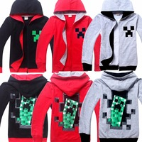Kids Black Pullover Cotton Sweatshirt Minecraft Creeper Pattern Children Clothes Hoodie Gift For Boys