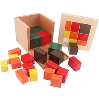 Montessori Materials Wood Toys Colorful Trinomial Cubes Box Three Wooden Cubes Eighteen Square Based Prisms Student Teaching Aid