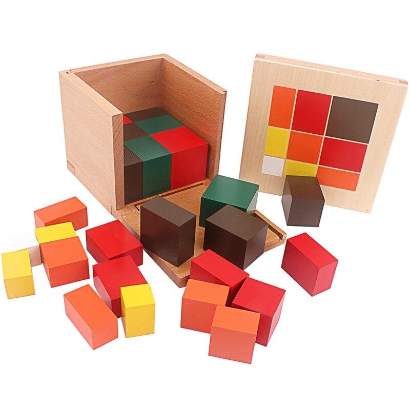 Montessori matériaux bois jouets colorés Cubes trinomiaux boîte trois Cubes en bois dix-huit prismes à base carrée aide à l'enseignement des étudiants