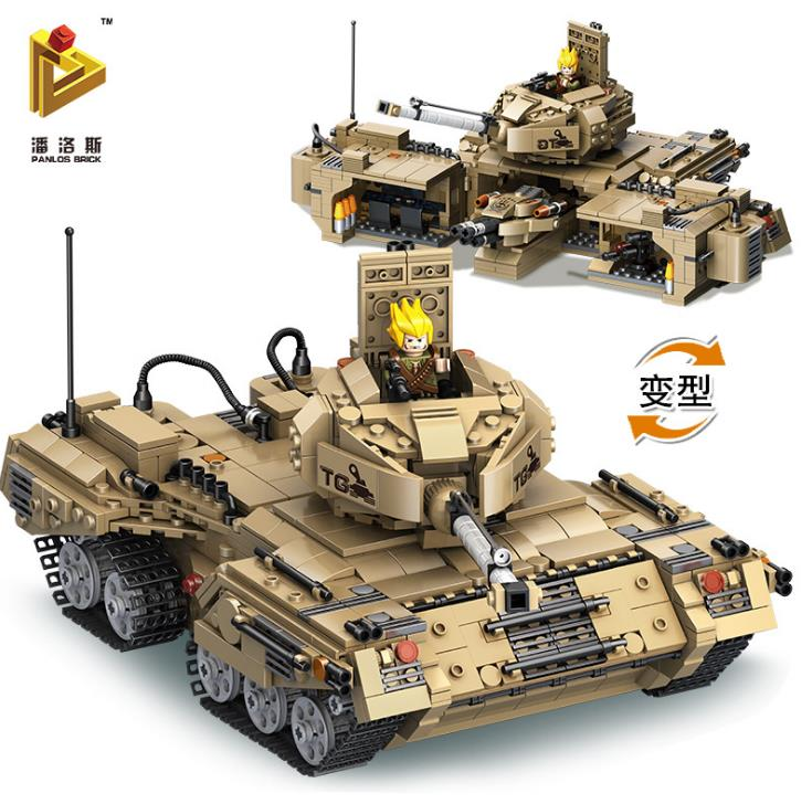 1435 pièces 2 en 1 déformation militaire réservoir blocs de construction Kit jouets Base militaire brique Legoings jouets pour enfants cadeau de noël