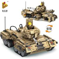 1435pcs 2 In 1 Deformation Military Tank Building Blocks Kit Toys Military Base Brick Legoings toys for children Christmas gift