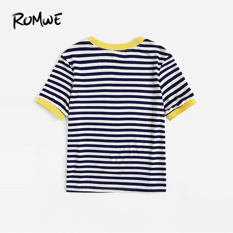 ROMWE Multicolor Contrast Pocket Striped Ringer Women Tees 2019 Summer Preppy Style T Shirts Casual Short Sleeve O-Neck Tops Lahore