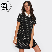 Ameision Bohemian Contrast Collar Polka Dot Straight Dress Womens Black and White Short Sleeve Casual Summer femme Dresses