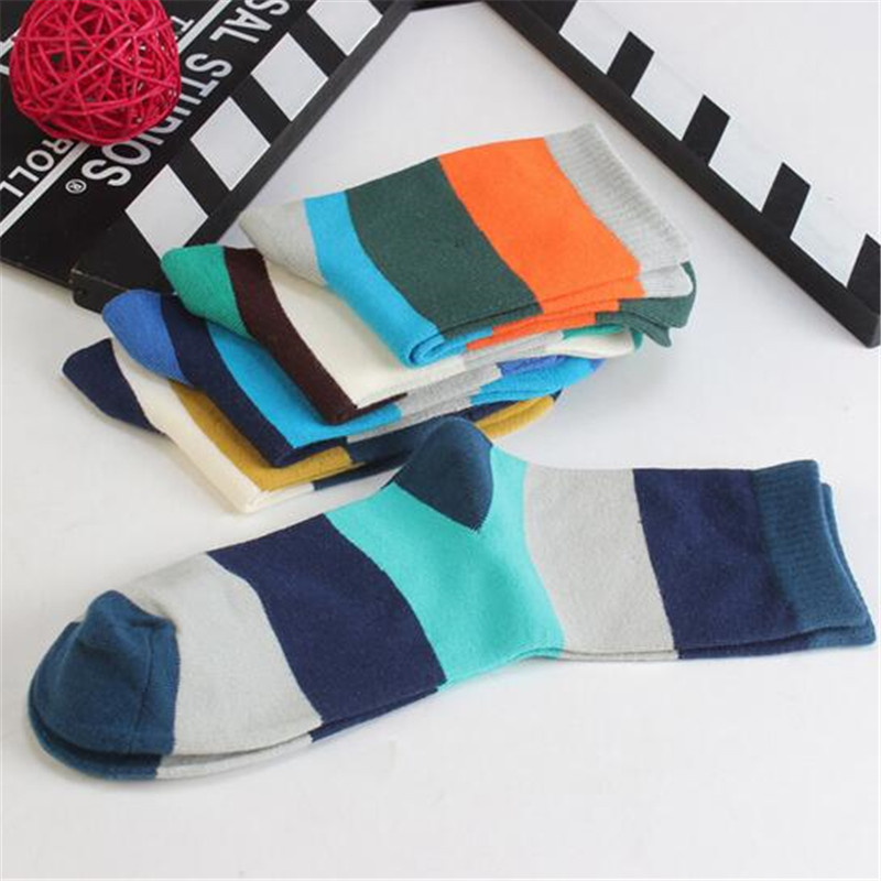 Hot Fashion 1 Pair Cotton Casual Men's Socks Breathable Stitching Color High Quality Classic Daily Socks Male Gifts Boyfriend