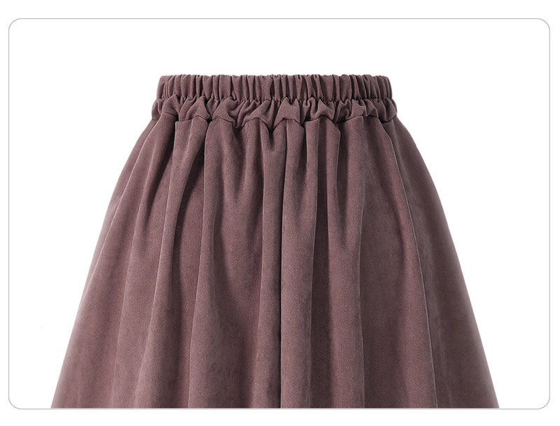 HDY Haoduoyi Pleated Skirts Button High Waist Elastic Mid Skirt Korean Style Women Skirts Fashion New 2018 Autumn Winter Bottom 19