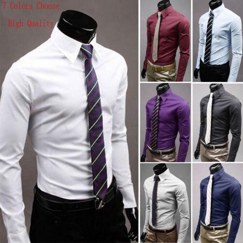 New Luxury Men Stylish Casual Dress Shirt Slim Fit Shirts Formal