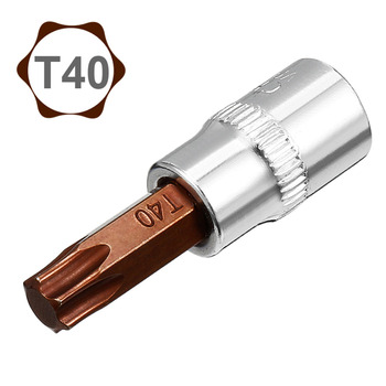 Uxcell Hot Sale 2Pcs S2 Steel 1/4-Inch Drive T40 Torx Bit Socket for Tightening Nuts Bolts Ends fit 3/8-inch
