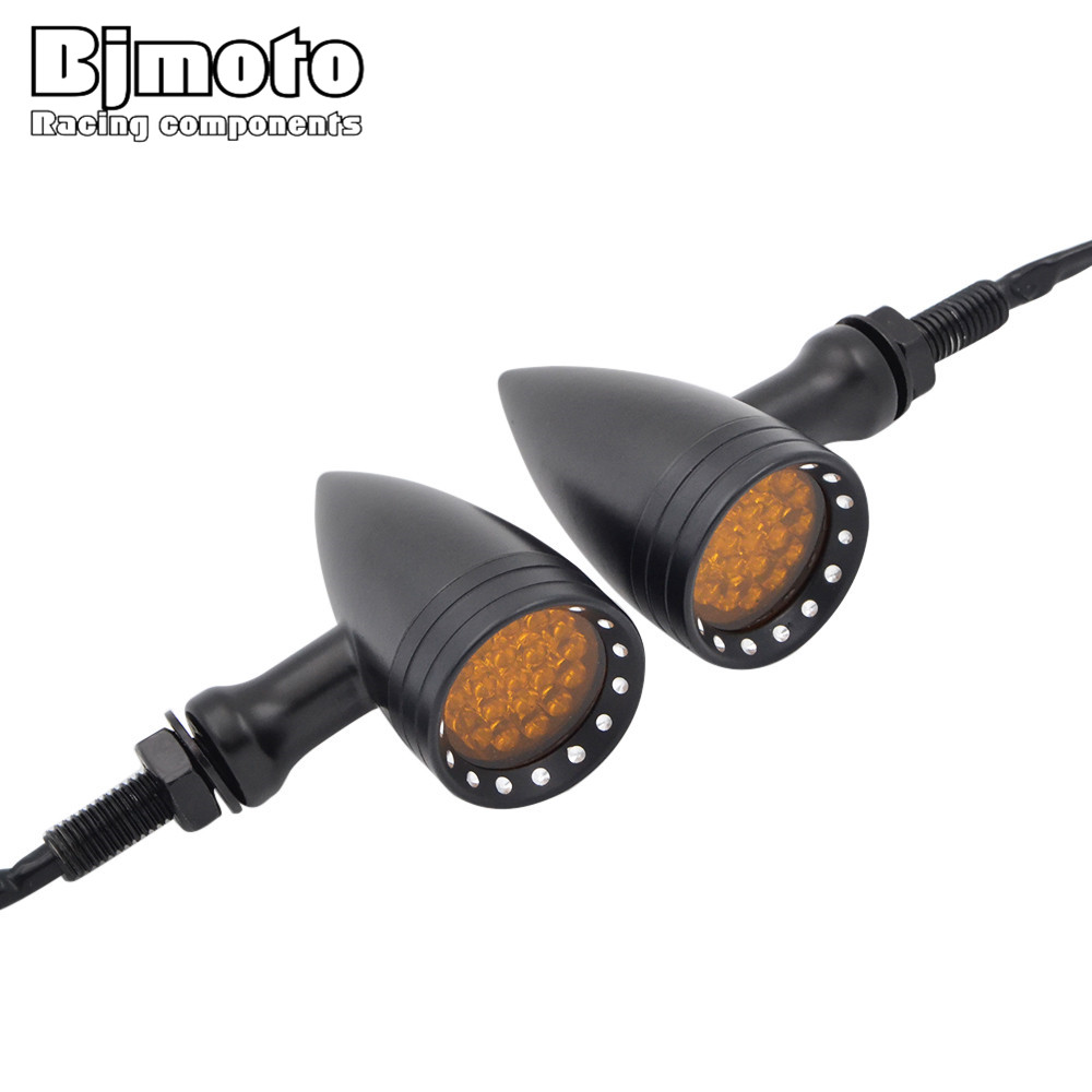 BJMOTO 2PCS Scooter Motorcycle Turn Signal Indicators Stop Light For Harley Motorbike Motorcycle Rear Turn Signal Led Lights