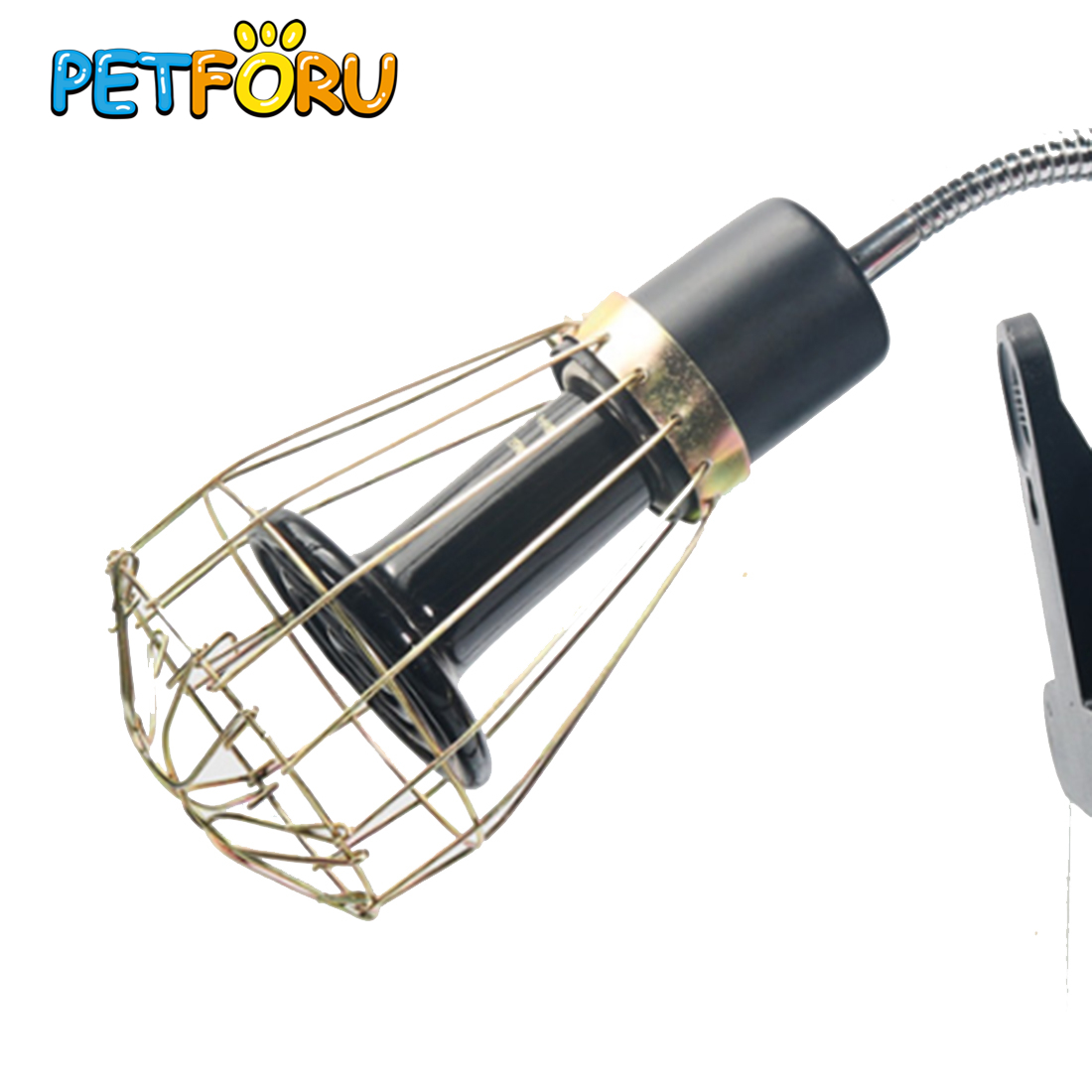 PETFORU Vintage Wire Lamp Cage Anti-scald Wire Light Lampshade Reptile Feeding Box Protective Lamp Cage Nordic Bulb Cover-Metal
