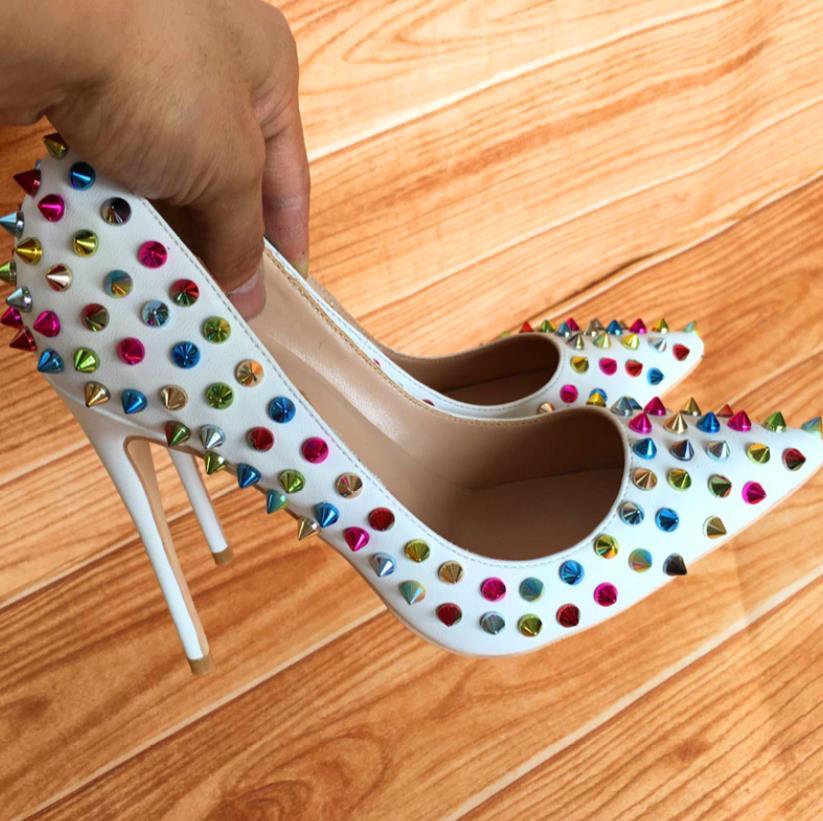 Zapatos Corte Remache otoño 2019 Blanco Bajo Patchwork en Todo Primavera Con Tacón uno Señalado De 7UnxvnET