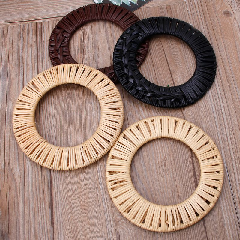 Round Rattan Bag Handle DIY Bag Hanger Wooden Bamboo Purse Frame Fashion Strap Cane Straw Bag Handle