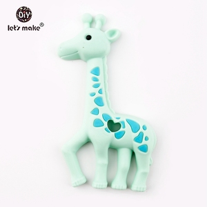 Let's Make Baby Teether 1pc Mint Original Silicone Giraffe Teether BPA Free Silicone Teether Pendant For Nursing Necklace Making(China)