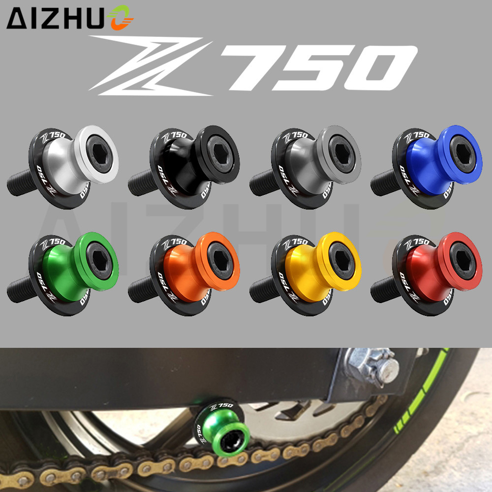 For Kawasaki Z750 Accessories Z 750 Motorcycle Swingarm Slider Spools 10mm Z750 Logo CNC Aluminum Stand Screw Pair High Quality 10mm motorcycle cnc swingarm spools stand screws slider for kawasaki z750 z750r z250 ninja 250 300 z1000 1000 versys