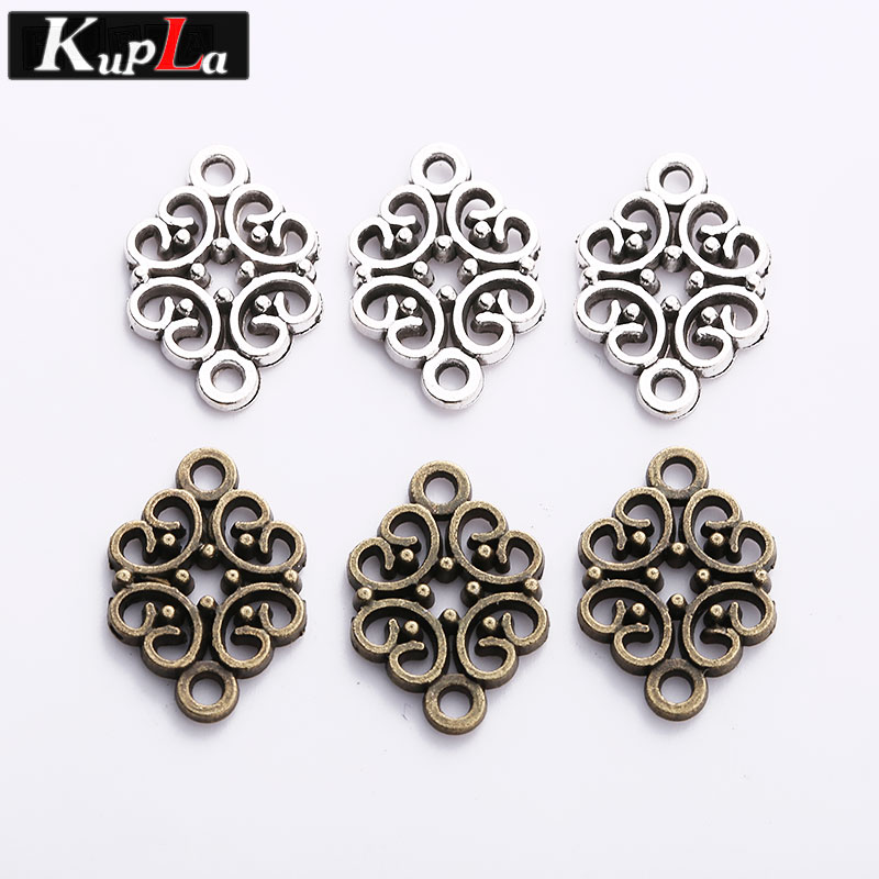 Vintage Metal Alloy Hollow Flower Charm Connectors for Jewelry Fashion Trendy Accessories DIY Jewelry Findings & Components
